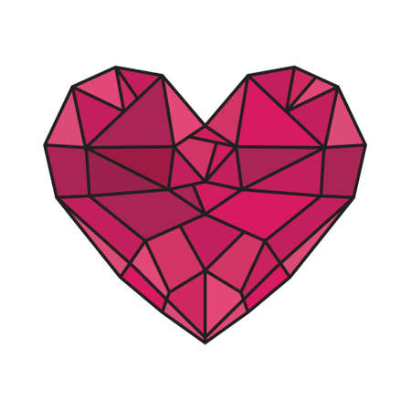 coeur diamant: Diamond heart low poly vecteur coeur Illustration