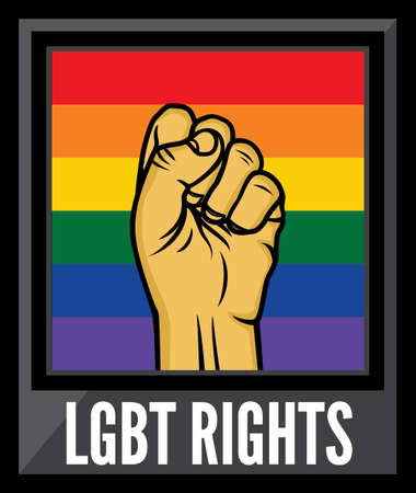 trans gender: Lgbt rights poster vector fist Illustration