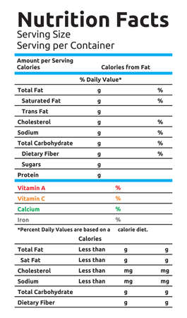 calories: Nutrition Facts Vector Food Label Illustration