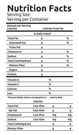 nutrición: Información Nutricional de Alimentos vectorial Label Vectores