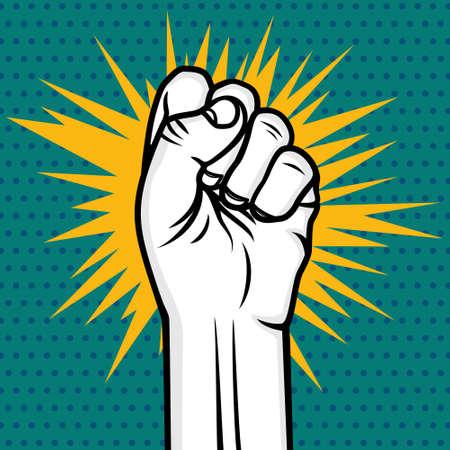 Revolution fist pop art vector illustration Illustration