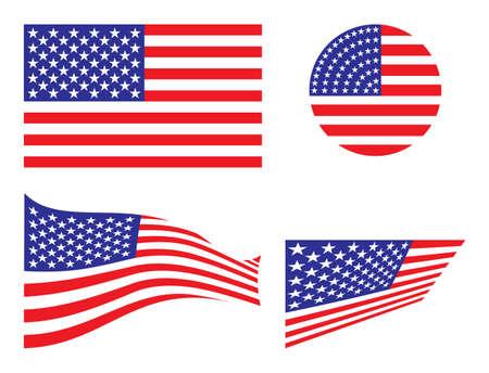 flags usa: USA vector flags set