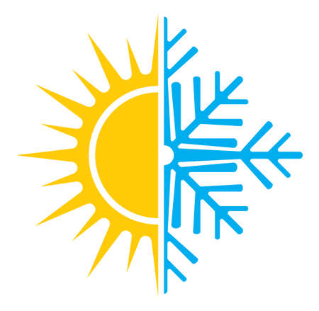 and in winter: Air conditioning vector icon  summer winter Illustration