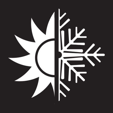 hot climate: Air conditioning vector icon  summer winter Illustration