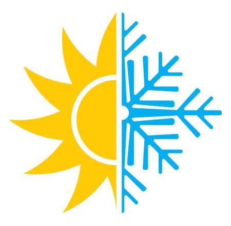 aire puro: Aire acondicionado invierno icono vector verano