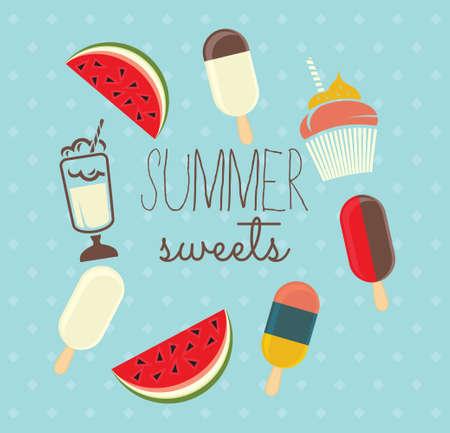 夏のスイーツとベクトル イラスト