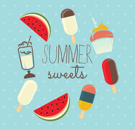 sweet pastries: Summer sweets vector illustration