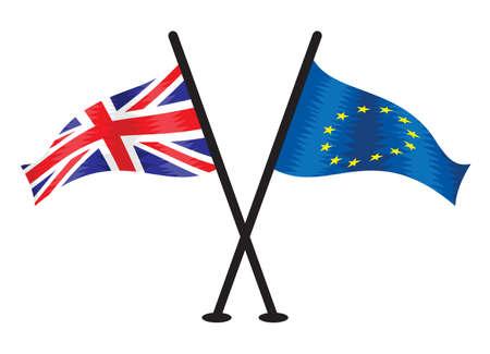 evropský: Velká Británie vlajky a Evropská unie Ilustrace