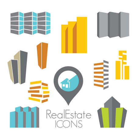 apartment buildings: Real estate icons Illustration
