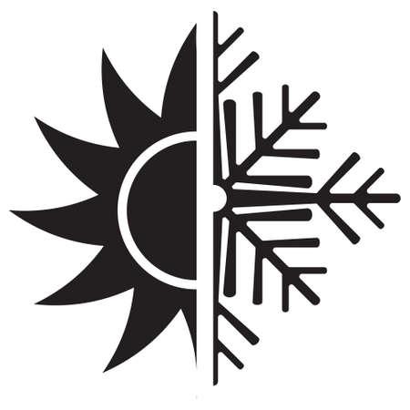 defrost: Air conditioning vector icon  summer winter Illustration