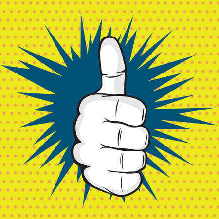 OK finger pop art vector illustration