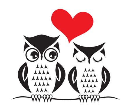 Cute owl love card template Vector