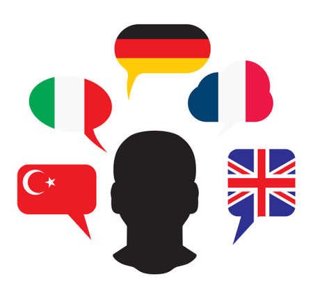 international students: International education language school Illustration