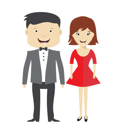 couple amoureux: Bride and groom wedding vector icon