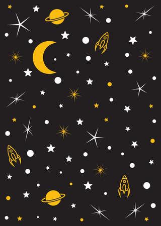 Mond, Sterne, Planeten, Raum-Vektor-Hintergrund Standard-Bild - 47769874