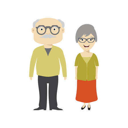 happy older couple: Grandparents - grandfather and grandmother vector illustration
