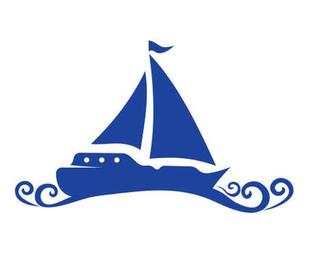 waves ocean: Sailing Boat vector icon