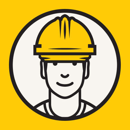 Industrial workers: Hard hat safety - Construction worker sign