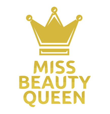beauty queen: Miss beauty queen vector icon