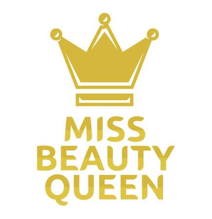 Miss beauty queen vector icon