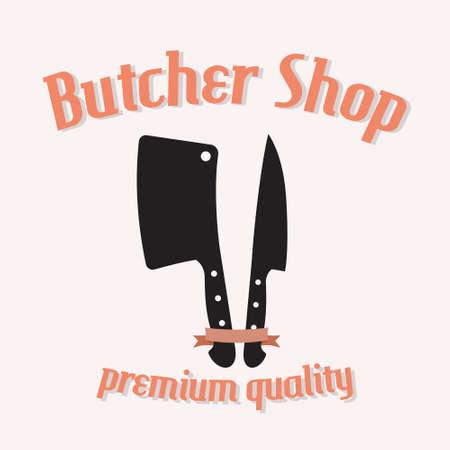 knife: Butcher shop vector illustration