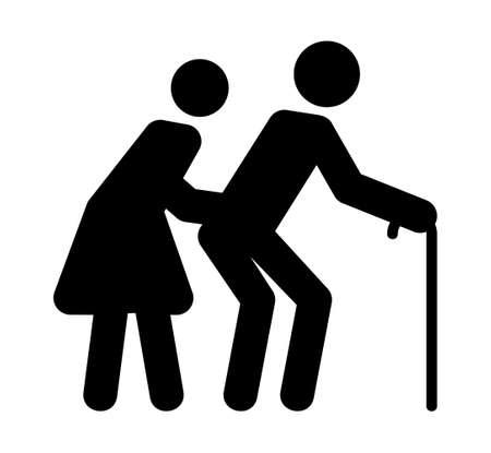 silueta hombre: Signo Ancianos Vectores