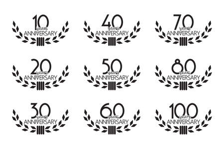 hundred: Anniversary symbols set Illustration