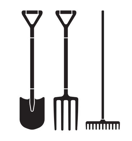 Garden tool spade, pitchfork and rake vector icons