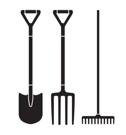 Garden tool spade, pitchfork and rake vector icons