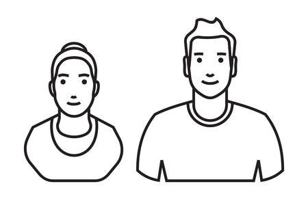 black business men: Man and woman Avatar vector icon