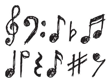 clave de fa: Notas musicales vector dibujado a mano Vectores