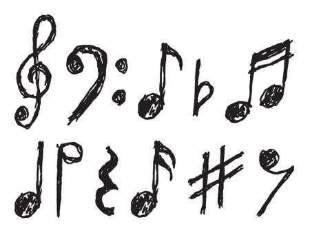 Musical notes vector hand drawn Illustration