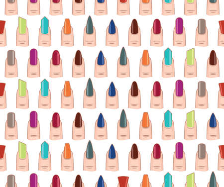 almond: Different nails shape seamless vector pattern