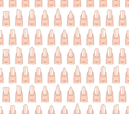 french manicure: Different nails shape seamless vector pattern