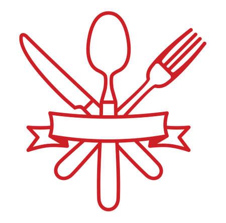 ristorante: Posate - coltello, forchetta e cucchiaio icona del ristorante vettore Vettoriali