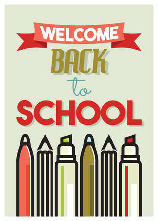 elementary schools: Welcome back to school retro poster Illustration
