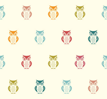 retro cartoon: Owl seamless vector pattern Illustration