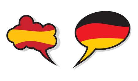 linguistics: Spanish and German language cloud