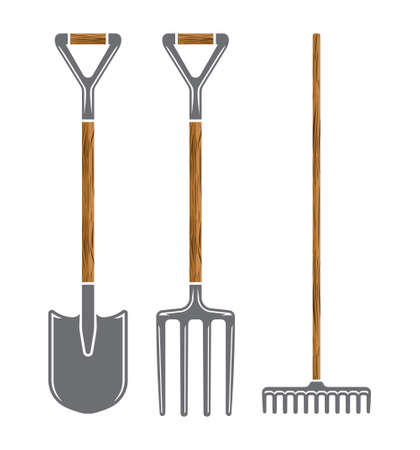 pitchfork: Garden tool spade, pitchfork and rake vector icons