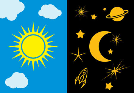 vector art: Day and night sun and moon vector illustration Illustration