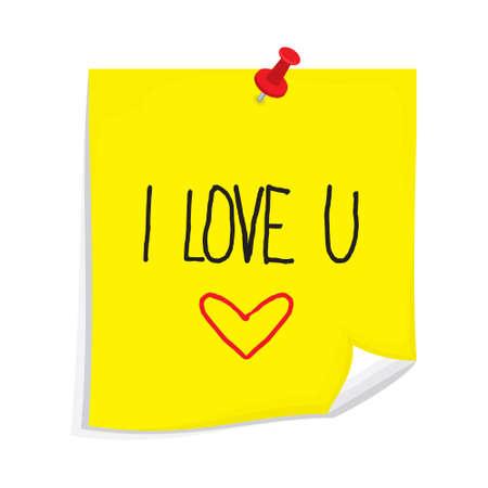 sticky note: Sticky note I love you Illustration
