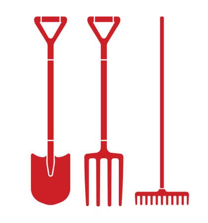hay bales: Spade, pitchfork and rake vector illustration Illustration