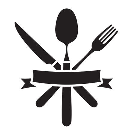 Cutlery - knife, fork and spoon restaurant vector icon Vettoriali
