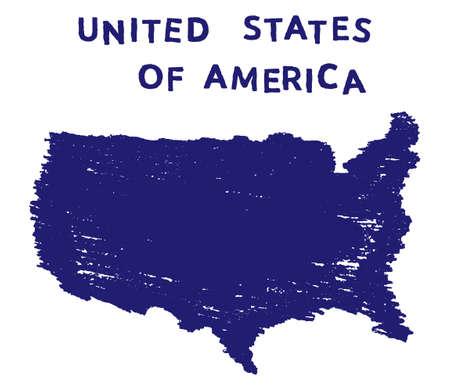 USA hand drawn map