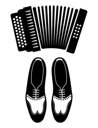Iconos vectoriales de Tango - zapatos y acordeón Foto de archivo - 47612621