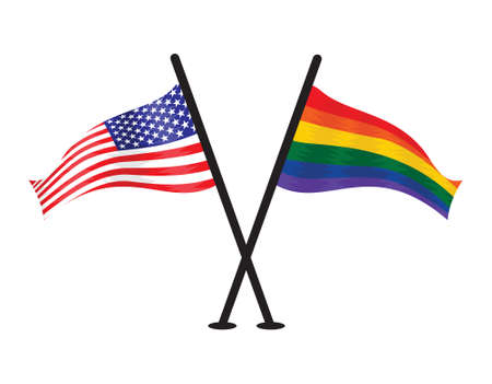 wave equality: American USA flag and lgbt flag together Illustration