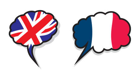 English and French language text bubble Stock Illustratie