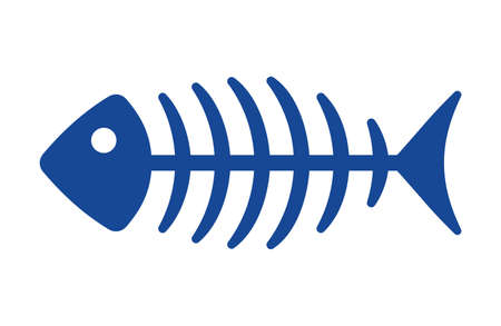 skeleton fish: Fish bone vector icon