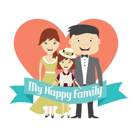 happy family: Happy family cartoon vector illustration