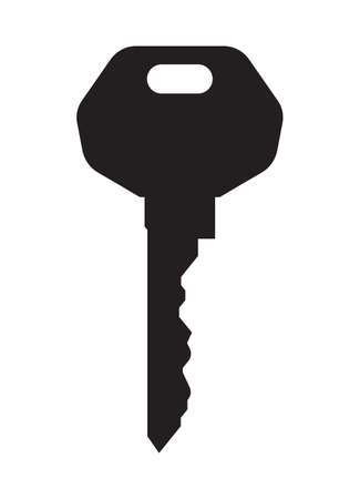 lock symbol: Key isolated on white vector icon